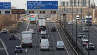 Roadworks sign on the motorway