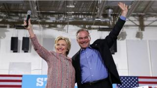 Hillary Clinton and Tim Kaine campaign in Virginia