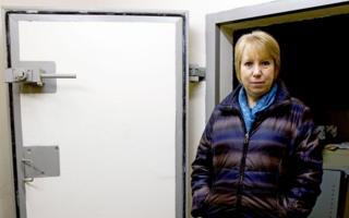 Gina Wright standing next to the 'blast doors' at Holderness District Council Emergency Centre underground bunker