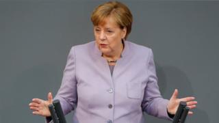 German Chancellor Angela Merkel in Bundestag, 27 Apr 17