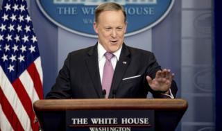 White House press secretary Sean Spicer talks to the media during the daily press briefing at the White House on 10 March.