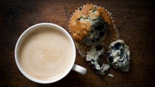 Blueberry muffin and a coffee