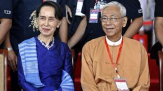 Aung San Suu Kyi and Myanmar President U Htin Kyaw (Feb 2018)