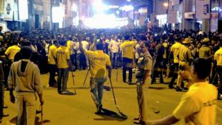 Police try to control New Year's Eve crowds in Bangalore