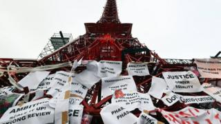 Messages on climate change outside Le Bourget in Paris where talks are taking place