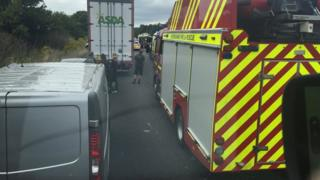 Emergency vehicles at A34 collision