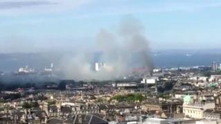 Smoke rises over Edinburgh