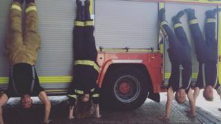 Justine Allingham and Fareham firefighters