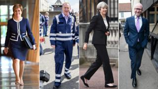 Nicola Sturgeon, Tim Farron, Theresa May and Paul Nuttall on the campaign trail