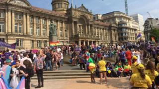 Birmingham Pride participants outs Birmingham Council House