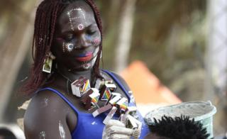 """Ivorians take part in the festival of Abissa in Grand-Bassam, Ivory Coast, 04 November 2017. The feast of the Abissa, a feast of rejoicing organized by the N""""Zima community to symbolize the concepts of democracy and social justice. The N""""Zima, a people of Ghanaian origin, finds herself around her leader and to the sounds of the tams-tams to take stock of the past year, and eventually denounce the injustices committed, or confess them publicly within the framework As part of a request for forgiveness to the people and an repentance. The festival of Abissa is celebrated each year between the end of October and the beginning of November."""