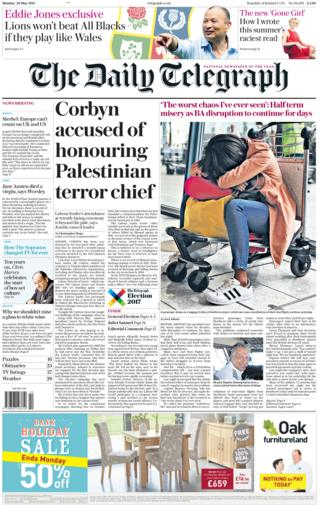 Daily Telegraph front page - 29/05/17