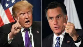 Donald Trump and Mitt Romney composite image