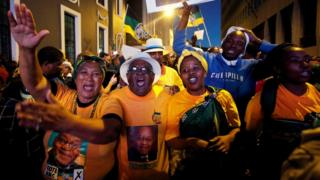 Pro-Zuma supporters celebrate after the vote of no confidence against President Jacob Zuma failed in Cape Town, South Africa, August 8, 2017