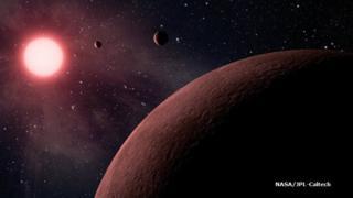 (ภาพจากฝีมือศิลปิน) ดาวเคราะห์ที่พบใหม่โคจรอยู่ในระยะห่างที่เหมาะสมจากดาวฤกษ์ศูนย์กลาง ซึ่งอาจทำให้มีน้ำบนพื้นผิวดาวได้