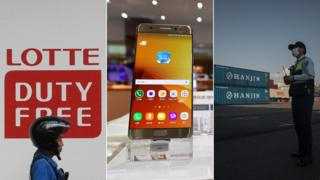 Lotte sign, Samsung Galaxy Note 7, Hanjin containers