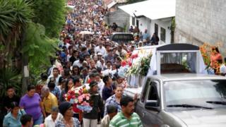 Funeral of Lesbia Yaneth Urquia, member of the Council of Indigenous People of Honduras (Copinh), Honduras, July 8, 2016