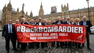 Union Unite and some Bombardier workers protest at Westminster over the threat to jobs