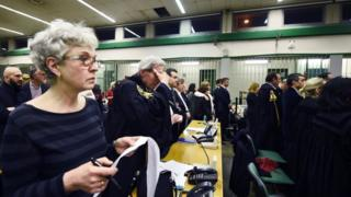 "Lawyers react to the sentence read by the judges of the Third Court of Rome during the trial of South American military officers and civilians accused of collaborating in the forced disappearances and murder of Italian nationals, in a US-backed regional plan dubbed ""Operation Condor. Jan 2017"