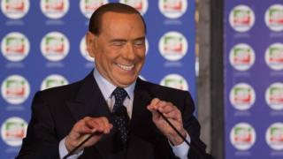 Silvio Berlusconi pictured speaking at his party convention in October 2017