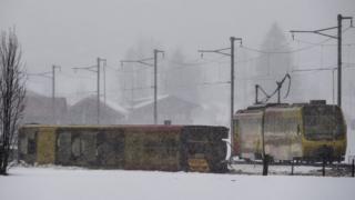 Derailed train near Lenk, in Switzerland, on 3 January 2018