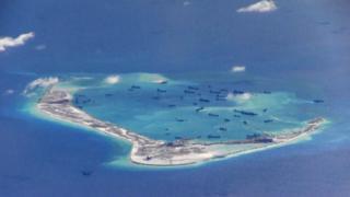 航拍中国在美济礁填海(资料图片)