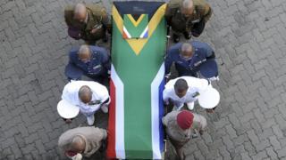 Winnie Madikizela Mandela's casket was draped in the national flag