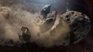 ilustração de asteróide se desfazendo