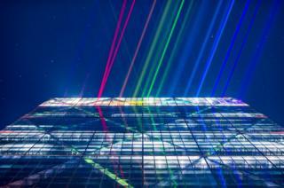 Laser lights on a building