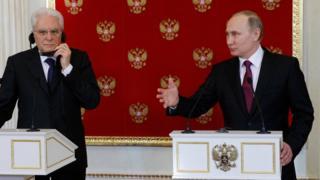 Vladimir Putin ve Sergio Matarella