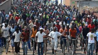 Cyclists in Burundi