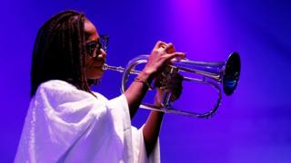 Nigerian musician Asa performs at a concert in Nigeria's main city, Lagos, on Saturday.