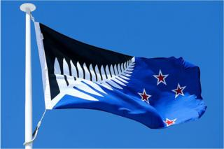 Silver Fern (Black, White and Blue), by Kyle Lockwood, flies on top of the Wellington Town Hall on 12 October 2015 in Wellington, New Zealand.