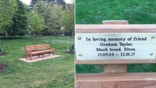 A bench in Watford and tribute plaque to Graham Taylor from Elton John.
