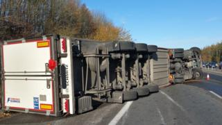 Lorry across the M11