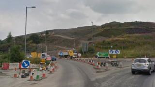 The King Street roundabout at Brynmawr