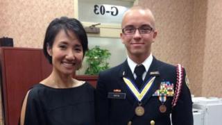 """Asher Potts"" poses with Representative Patty Kim"