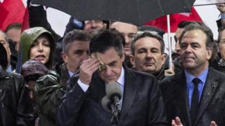 Francois Fillon delivers a speech to thousands of supporters at the Place du Trocadero in Paris, 5 March 2017