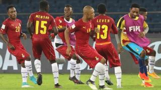 Ghana players dey celebrate