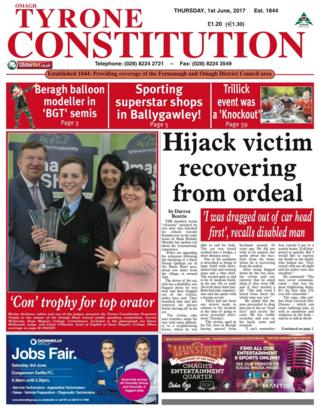 Tyrone Constitution front page Thursday 1 June