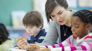 Teacher teaches pupil