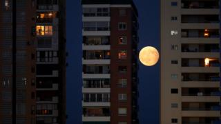 The rising moon is seen during a partial lunar eclipse between buildings in Malaga, southern Spain August 7, 2017.