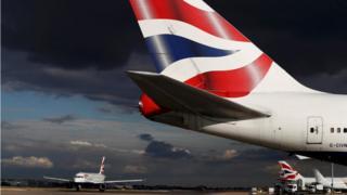 British Airways aircraft taxi at Heathrow Airport