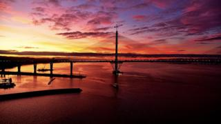 Queensferry Crossing at sunset