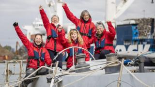 Tracy Edwards MBE and crew onboard Maiden
