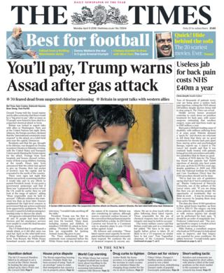 Times front page - 09/04/18