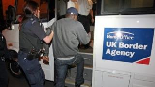 A man arrested by an officer from the UK Border Agency looking for illegal workers