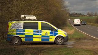 Police van by road