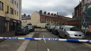 A police cordon is in place at the scene of the alert