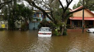 Floodwaters inundate a street in the New South Wales town of Lismore